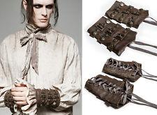 Bracelets manchettes gant gothique punk steampunk rouages laçage Punkrave homme