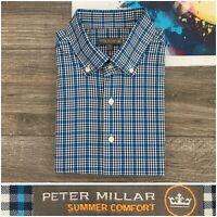 PETER MILLAR Summer Comfort Button Down Shirt Mens Sz XL Plaid Gingham Check