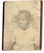 Funny Cute Awestruck ID'd Black African American Boy Kid 1940s Photobooth Photo