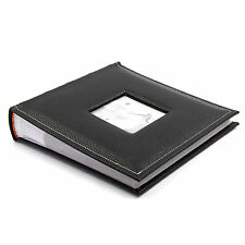 "Black Leather Vintage Large 6"" x 4'' 200 Photos Slipin Photo Album with Memo"