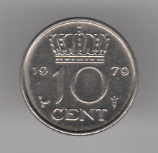 Netherlands 10 Cents 1979 Nickel Coin - Queen Juliana