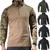 Men Camo Military T-shirt Tactical Long Sleeve Army Combat Shirt Moisture Blouse