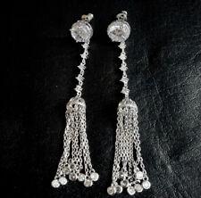 18k White Gold GF Long Fringe Tassel Earrings made w/ Swarovski Crystal Stone