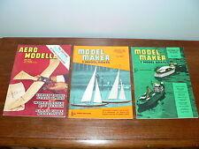 Lot of 3 Model Maker & Model Boats, & Aero Modeller Hobby Magazines~1960's