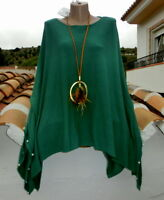 ART Italy BeINN Poncho Überwurf Perlen Trendy Insein Petrol Feinstrick EG 40-54
