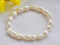 Fashion 8-9mm Natural White Baroque Freshwater Cultured Pearl Stretch Bracelet