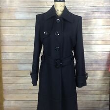Anne Klein Womens Size 6 Black Wool Blend Long Belted Coat EUC