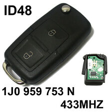 FOR VW Volkswagen SEAT 433 MHZ 2 BUTTON FLIP KEY FOB BLANK BLADE & ID48 K18