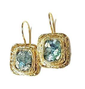Roman Glass 18 K Gold Plated Earrings Ancient 200 B.C Rectangle Hook Earrings