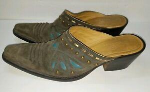 Cole Haan Morgan Mule Brown Suede Studded Western Heel Womens Shoe Size 9.5 B