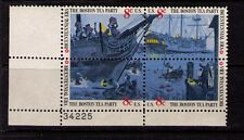 US USA Sc# 1483a MNH FVF PLATE # BLOCK Boston Tea Party Sailing Ship Boat Moon
