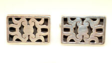Shadowbox Cufflinks Signed Lhm Vintage Mexican Sterling Silver Rectangular