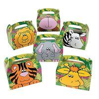"Zoo Animal Cardboard Treat Boxes (12 Pieces) 6 1/4"" x 5 1/2"" x 3 5/8"