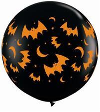 Halloween Volador Murciélagos & Lunas 0,9 m Qualatex Globos Látex x 2