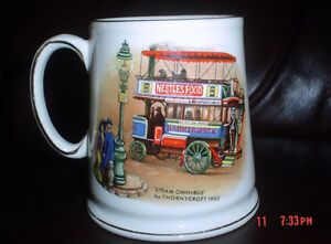 James Kent Old Foley Mug 'Steam Omnibus' And 'Rotary Cultivator'