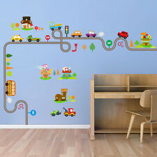 Transport Wall stickers Train Ship Car Tree Decals Art Kids baby Nursery room