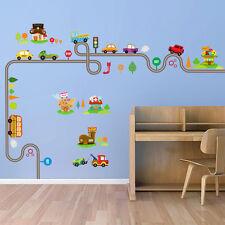 US STOCK Transport Wall stickers Train Ship Car Tree Decals Art Kids Room Decor