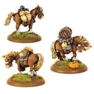 Pack Horses x3 28mm Unpainted Metal Wargames