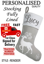 Grey REINDEER Personalised Beautiful Quality Lined Christmas stocking