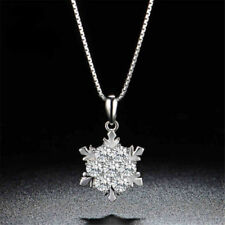Snowflake 925 Sterling Silver Cubic Zirconia Jewelry Pendant Necklace Chain CZ