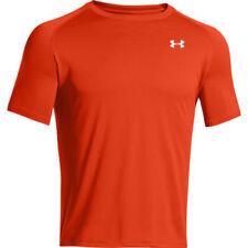 Maglie e top da uomo arancioni traspiranti per palestra , fitness , corsa e yoga
