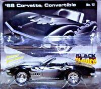 Johnny Lightning Street Freaks Black w Flames 68 Corvette Convertible 1/64 Scale