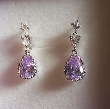 S12 Lilac amethyst pear, white gold CRUISE drop dangle earrings in FREE gift box