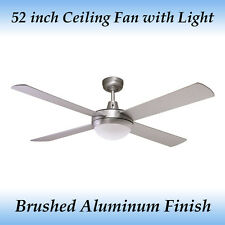Genesis 52 inch 4 Blade Ceiling Fan with Light in Brushed Aluminum