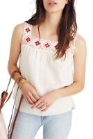 New Madewell Embroidered Linen Blend Island Tank Top,XS.