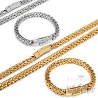 XL Set Fuchsschwanzkette & Armband Edelstahl silber gold dicke Herren Halskette