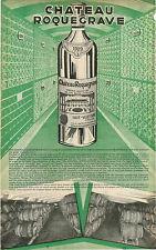 """ADVERT """" Mini Poster """" Bordeaux Chateau Roquegrave Haut Valeyrac Wine Barrels"""