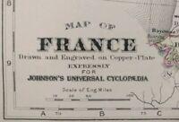 Vintage 1886 FRANCE Map ~ Old Antique Original BORDEAUX NICE PARIS MARSEILLE