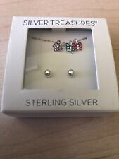 NIB Silver Treasures- Sterling Silver Necklace And Earring Set Butterflies