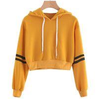 Womens Girls Pullover Cropped Top Crop Sweatshirt Ladies Hoody Hoodie Casual sdj
