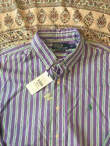 RALPH LAUREN - Purple-Green - Striped - Button Cuff - Shirt - XL - New With Tag
