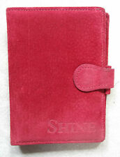 File Organiser Suede Leather RED POCKET SIZE LONDON WALLET DIARY CARDS NEW