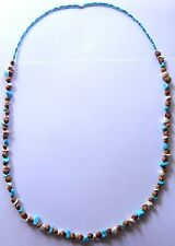 Navajo Ghost Cedar Beads Juniper Berry, White & Blue Turquoise 30 inch Necklace