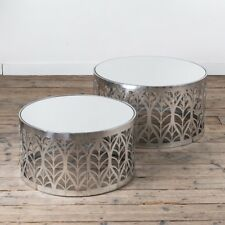 CONTEMPORARY SILVER GILT LEAF PATTERNED METAL NEST SIDE TABLE GLASS TOP (CMT051)