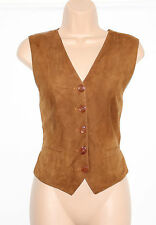 Brown 100% Real Leather & Textile Fitted Ladies Waistcoat Size UK 8 10 Festival
