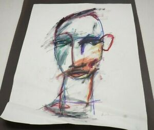 """Michael Banks Outsider Folk Art Abstract Man Face Signed 19x24.5"""" (C)"""