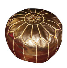 Ottoman Footstool Poof Moroccan Hand Made Leather Poufs Hassock Large Gold