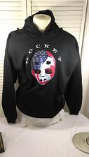 Black Men's Hoodie with A Cool USA Hockey Mask Logo, Heavyweight, Size Large