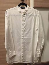KRIS VAN ASSCHE SS12 White Mandarin Collar shirt Sz 44 Cotton Poplin