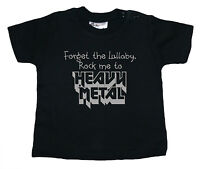 "Baby Rock Music T-Shirt ""Forget the Lullaby, Rock Me to Heavy Metal"" Boy Girl"