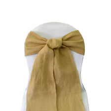 Burlap Chair Sash Bow 100% Natural Jute Fabric Beige Chair Cover Bow Made in USA