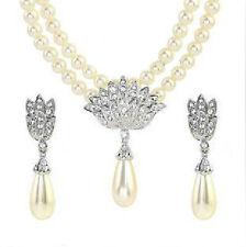 Nuziale Gioielli Set CREMOSO Bianco Perle e Argento Collana Borchie Orecchini S322
