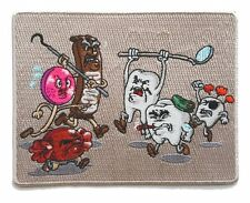 Candy vs Teeth Funny Dental Humor Iron On Patch On Hat Vest Shirt Jacket New