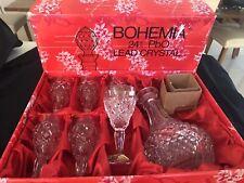 ORIGINAL BOHEMIA CRYSTAL 24 % PBO SHERRY GLASSES DECANTER SET ORIGINAL BOX