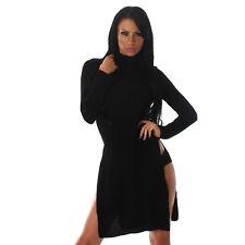 Sexy LONGPULLOVER Longpulli Pullover Rollkragen und Schlitz Schwarz Größe  40