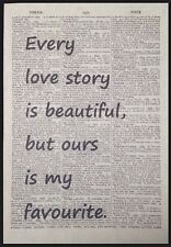Love Story Quote Vintage Dictionary Page Wall Art Picture Love Cute Heart Gift